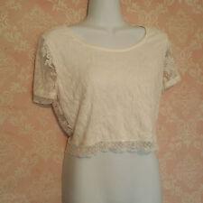 Women's PAPAYA Winter white lace layered crop top Stretch shirt blouse Large