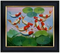 Framed, Koi Carp Pond II, Hand Painted Oil Painting 20x24in