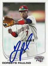 Dorssys Paulino Cleveland Indians 2013 Topps Pro Debut Signed Card