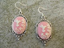 *CAMEO HUMMINGBIRD EARRINGS!!!  (PINK) .925 silv. stamped hooks!!! QUALITY!!!!