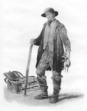 VICTORIAN ENGLAND RAT CATCHER MAN w STICK CAGE ~ Old 1883 Art Print Photogravure