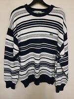 Lacoste Jumper Sweater Ribbed Style Size 3 White & Blue