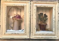 Set of 2 Hanging Shadowbox Pictures w/ Flowers Watering Can Wooden Beige Frame