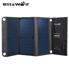 BlitzWolf Solar Charger Dual USB Port Portable Foldable Panel 20W 3A Sun Power