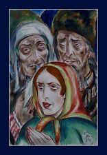 """Wandbild""""Im Louvre Paris Thea Schleusner 1879-1964-Russische Bauern-xxx"""