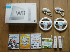 Wii CONSOLE+GAMES+BOXED+A FREE YEARS WARRANTY