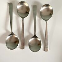 FOUR SHEFFIELD FIRTH STAYBRITE SOUP SPOONS VINTAGE STAINLESS