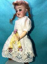 "Vtg 2 ps white embroidered cotton dress for German/French mignonette dolls 8.5"""