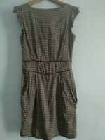 Emily And Fin Latte Brown Abstract Pattern Dress Size Medium Pocket Skater Girl