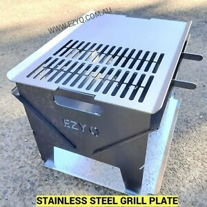 Flat Packed Portable BBQ / Fire Pit & STAINLESS STEEL GRILL & Camping Stove Pack
