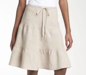 Allen Allen PLUS SIZE 1X 100% Linen KHAKI Beige Drawstring Waist TIERED Skirt