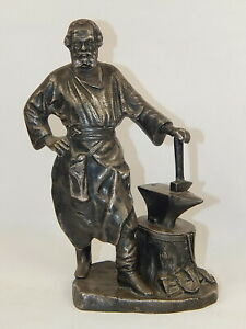 "10"" Rare Antique Russian Collectible Silver Plated Art Sculpture of a Blacksmith"