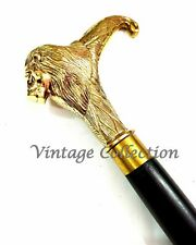 Solid Brass Lion Style Head Handle Black Victorian Wooden Walking Stick / Cane