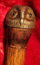 A Rare Pewter Owl Topped Cane with Strong Tapered Hickory Shaft and Glass eyes