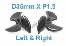 1 Set D35mm 3-Blades Left&Right P1.9 RC Boat Propellers, 3mm Shaft 038-06405-06