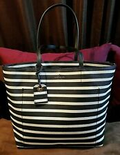Kate Spade Black and White Striped Leather Tote