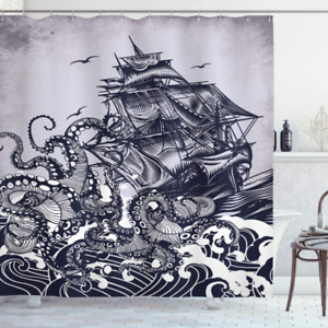 Ambesonne Nautical Shower Curtain, Kraken Octopus Tentacles with Ship Sail Old B