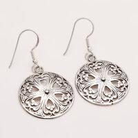 925 Sterling Silver Dangle Drop Earrings Women Tribal Handmade Fine Jewelry New