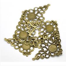 New 30 pcs Bronze Filigree Triangle Cabochon Setting Wraps Connectors 7.9x4.6cm