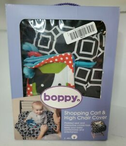 The Original Boppy Shopping Cart High Chair Cover Black City Squares Toy Loop