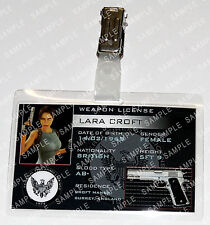 Lara Croft Tomb Raider Game ID Badge Weapon License Cosplay Costume Comic Con