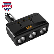 NOVPEAK 12V-24V Dual USB 3.6A 3-Port Car Charger Lighter Adapter LED Display