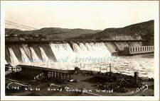 1940 Grand Coulee Dam West Spillway Construction Cranes Real Photo Postcard