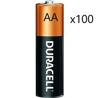 Duracell MN1500 Alkaline AA 1.5 V Coppertop Batteries 100 Pack Count Exp. '19-20