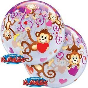Qualatex Valentine's Day Monkey Love Deco Bubble Balloon