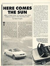 1993 Audi Cabriolet Original Car Review Print Article H96