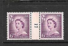 NEW ZEALAND  1953-59  6d  QEII  COIL  #17   MNH   CP NC2a