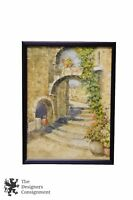 Betty Miller Signed Watercolor Painting Cityscape Steps Ivy Stone Arch Street
