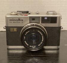 Vintage Camera Minolta Hi-Matic F 35 mm Film Rangefinder w case Rokkor Lens 38mm