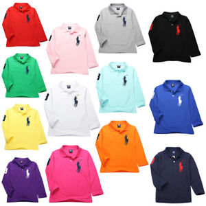 Kids' Boys Girls Comfortable mesh Long-sleeved T-shirt 10 Color 2-13Y TOP