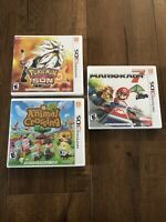 Lot of 3 Nintendo 3DS Games: Mario Kart 7, Pokémon Sun, Animal Crossing