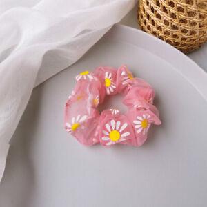 Soft Organza Daisy Print Mesh Large Intestine Circle Elastic Hair Ring Accessory