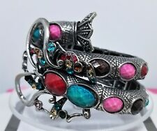 Abstract Fish Bracelet Cuff Hand Set Multi Color Stones