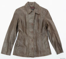 WILSONS LEATHER MAXIMA WOMEN'S BROWN BUTTON FRONT LEATHER JACKET - SIZE M