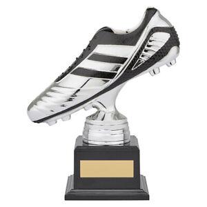 STRIKER Premium Football Heavyweight Trophy Boot Silver & Black FREE Engraving