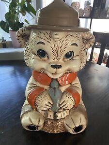 Vintage Twin Winton Ranger Bear Ceramic Cookie Jar ~ California USA