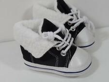 New Little Me Boy's Black & White High Top Sneakers Shoes w/ Sherpa Fleece, Sz 1