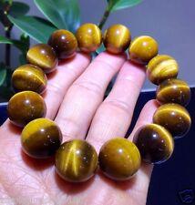 16mm Natural Yellow Tiger Eye Stone Gemstone Beads Men Jewelry Bracelet Bangle