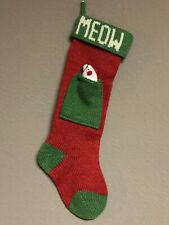 Christmas Knitted Holiday Cat & Mouse Stocking Meow Red & Green