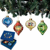 Bradford Disney Dazzling Dreams Glass Ornaments #2 Tangled, Ariel, Mickey, Tink