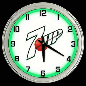"16"" 7UP White Sign Green Neon Clock Man Cave Garage Bar 7 UP"