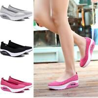 Womens Fitness Walking Toning Shoes Platform Wedge Sneakers Creeper Casual Shoes