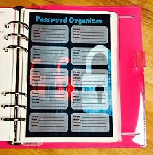 Password Organizer Two Sided Dashboard for use with Filofax A5