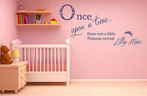 Personalised Name, Once Upon a Time, Princess, Wall Art Sticker Diamantes/Pearls