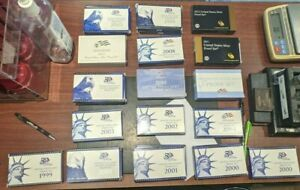 Lot of 54 US Proof Sets and Quarter Proof Sets - 1980's, 1990's, 2000's, 2010's