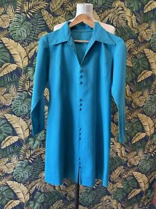 Vintage 1960s 1970s Handmade Mod Mini Dress Turquoise